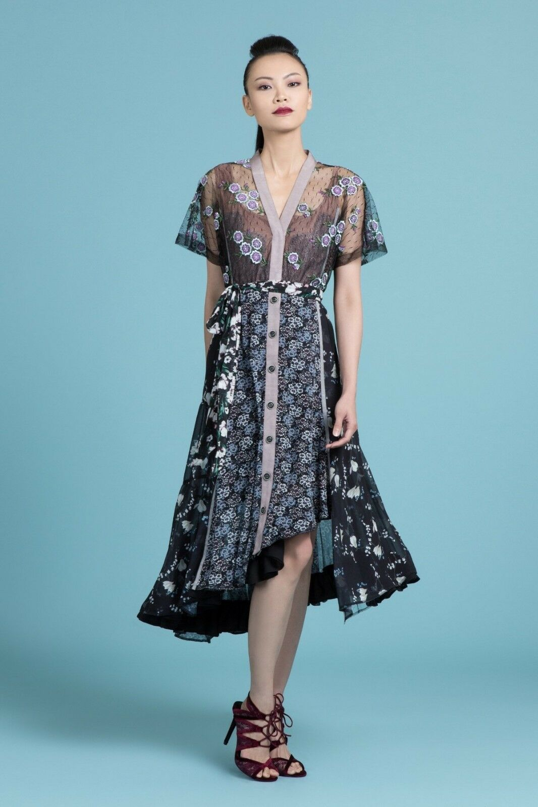 NWT BYRON LARS purpleC NIGHT CASSIE FLORAL CASCADING MIDI DRESS 10, 12
