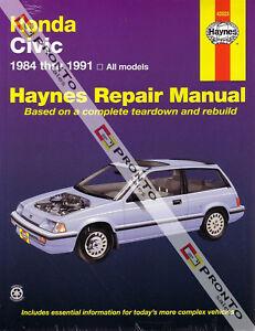haynes repair workshop manual honda civic crx 1984 1991 ebay rh ebay co uk 1991 honda crx si service manual 2012 Honda CRX Si