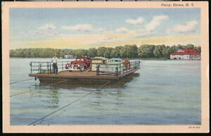 STOWE-NY-Ferry-Boat-Vintage-1940-039-s-Cars-Old-Linen-Postcard-Early-PC