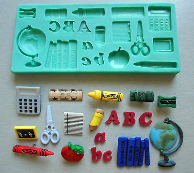 Silicone Mould /BACK TO SCHOOL / Sugarcraft Cake Decorating Fondant / fimo mold