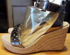 "Michael Kors sandals wedges silver size 7 1/2-M ankle strap women 4"" heel"