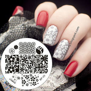 BORN-PRETTY-Nail-Art-Stamping-Template-Image-Plates-Flower-Design-BP20
