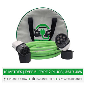 Type 2 charging cable & plugs 32A charger up to 7,4kW. 10 METRE cable & bag