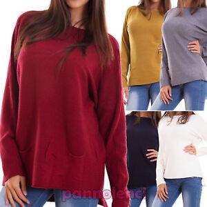 Maglione-donna-maxi-pullover-ampio-tasche-costine-barchetta-casual-nuovo-P3312