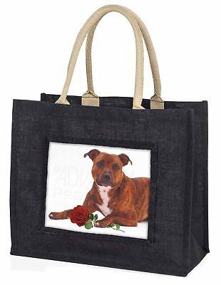 Staffie mit rotem Rose große schwarze Einkaufstasche Weihnachtsgeschenk