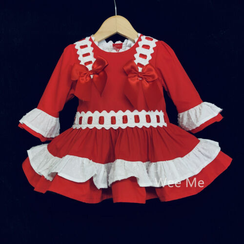 Stunning Wee Me Baby Girl Red Spanish Drop Waist Dress Two Bows