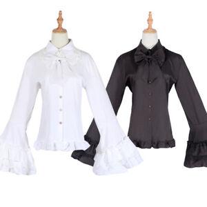 4c86d7bd0cb Lolita Black White Tops Chiffon Lace Blouse Bow Bodyline Victorian ...