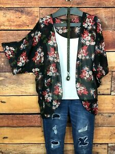 Womens-Floral-Kimono-Cardigan-Size-Large-Batwing-Sleeve-Sheer-Lightweight-Black