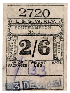 I-B-London-amp-South-Western-Railway-Paid-Parcel-2-6d-Southampton