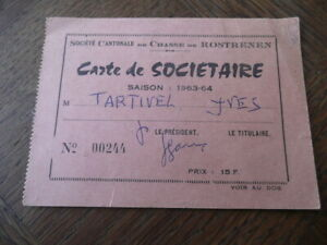 Carte Bretagne Rostrenen.Details Sur Bretagne Breton Cotes Du Nord D Armor Carte Societe De Chasse De Rostrenen 1963