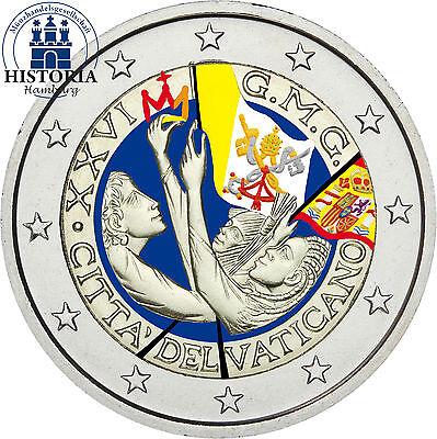 Vatikan 2 Euro Gedenkmünze 2011 bfr. Weltjugendtag Madrid in Farbe