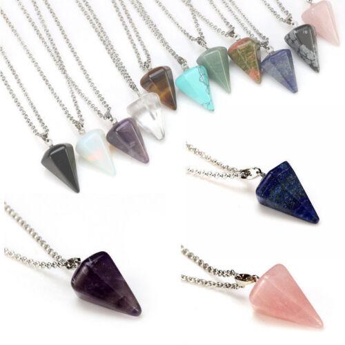 1pc Natural Gemstone Crystal Healing Chakra Reiki Stone Pendant Necklace Bead//OO