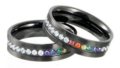 Pride Shack Jet Black Rainbow String Full Cz Ring An