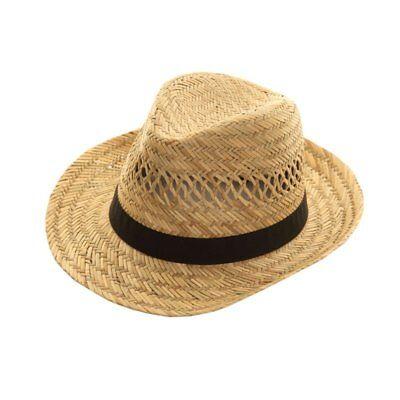 NEW MENS WOMENS LADIES FEDORA STRAW TRILBY SUMMER FESTIVAL SUN HAT SENT BOXED