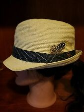Juicy Couture Paper Blend Casual Fedora Hat Feather Detail