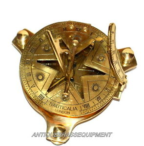 """ANTIQUE VINTAGE MARITIME 4"""" BRASS NAUTICAL STAR SUNDIAL COMPASS FROM LONDON"""