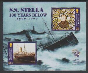 Alderney-1999-Epave-De-Ss-Stella-Bateau-Feuille-MNH-Sg-MSA124