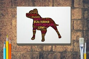 Staffie-Terrier-Word-Art-Canvas-A4-A3-A2-A1-Mothers-Day-Gift-Personalised-Option
