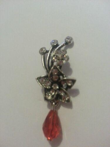 Flor pendiente con Little Diamonds /& Rojo Verde O De Vidrio Transparente pendiente para 1 Oreja