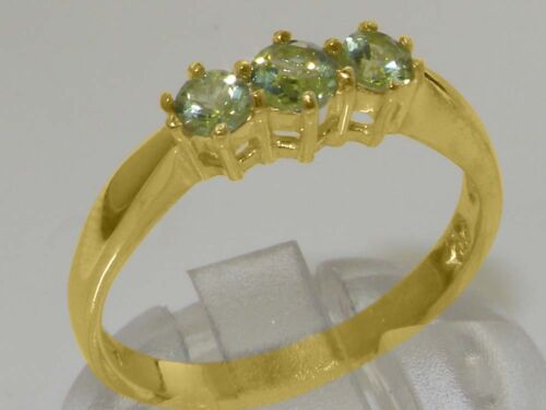 Solid 9ct Yellow Gold Natural Peridot Womens Trilogy Ring Sizes J to Z