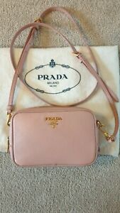 100-Authentic-Prada-Saffiano-Leather-Cross-Body-Bag-Pink-Gold-Hardware-RRP-860