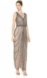 Adrianna-Papell-Lead-Sleeveless-Beaded-amp-Column-Skirt-Lead-Formal-Gown-Sz-8