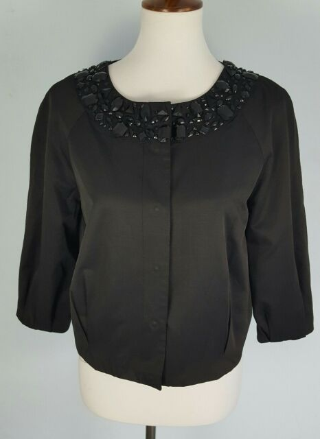 H&M Women's 10 (M) Black Embellished Neck Cropped 3/4 Sleeve Evening Jacket Top