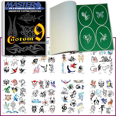 SET 9 BOOK 100 Reusable Airbrush Temporary Tattoo Stencil Art Designs Templates