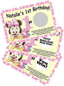Image Is Loading BABY MINNIE MOUSE SCRATCH OFF OFFS PARTY GAME