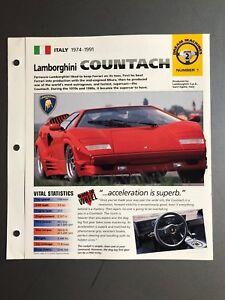 1974 1978 Lamborghini Countach Imp Hot Cars Spec Sheet Folder
