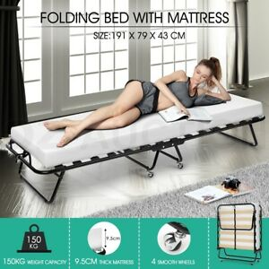 Portable Folding Bed with Mattress Single White