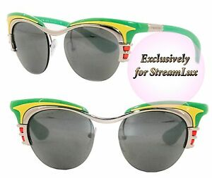 455596a6a4257 PRADA DIXIE Sunglasses SPR 60O 1BC-7W1 Women Cat Eye Green Yellow ...