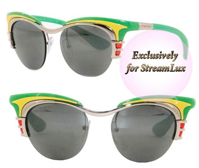 143eb0625043 PRADA DIXIE Sunglasses SPR 60O 1BC-7W1 Women Cat Eye Green Yellow Mirrored