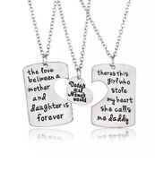 Daddy's Girl Mamas World 3 Pc Heart Necklace Set Father Mother Daughter Kc57