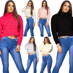 Womens-Ladies-Cable-Knitted-High-Neck-Cropped-Top-Pullover-Sweater-Chunky-Jumper