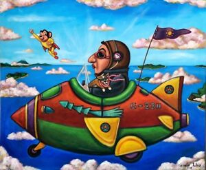 Whimsical-Painting-by-Mexican-Artist-German-Rubio-The-Aviator-mighty-mouse