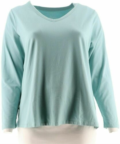 Essentials Perfect Jersey Long Sleeve Top w//Neckline Trim  Large L Denim /& Co