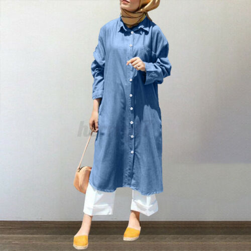 ZANZEA UK Womens Long Sleeve Collared Button Down Casual Loose Denim Shirt Dress