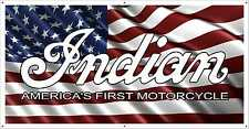 INDIAN AMERICA'S FIRST MOTORCYCLE LOGO WITH FLAG BANNER SIGN