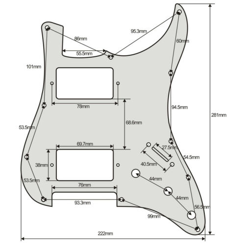Strat Stratocaster HH Humbucker Guitar Pickguard Scratch Plate USA MEX FIT