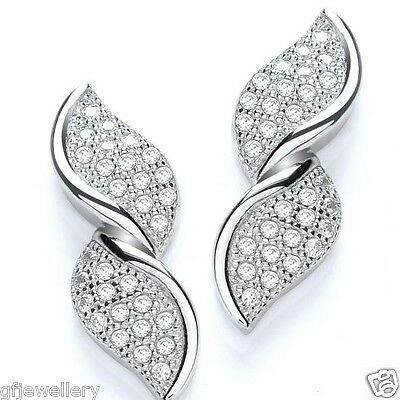 J JAZ - SOLID 925 STERLING SILVER MICRO PAVE SET FANCY TWIST STUD EARRINGS