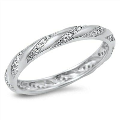 Cubic Zirconia Eternity Design Band .925 Sterling Silver Ring Size 4-10