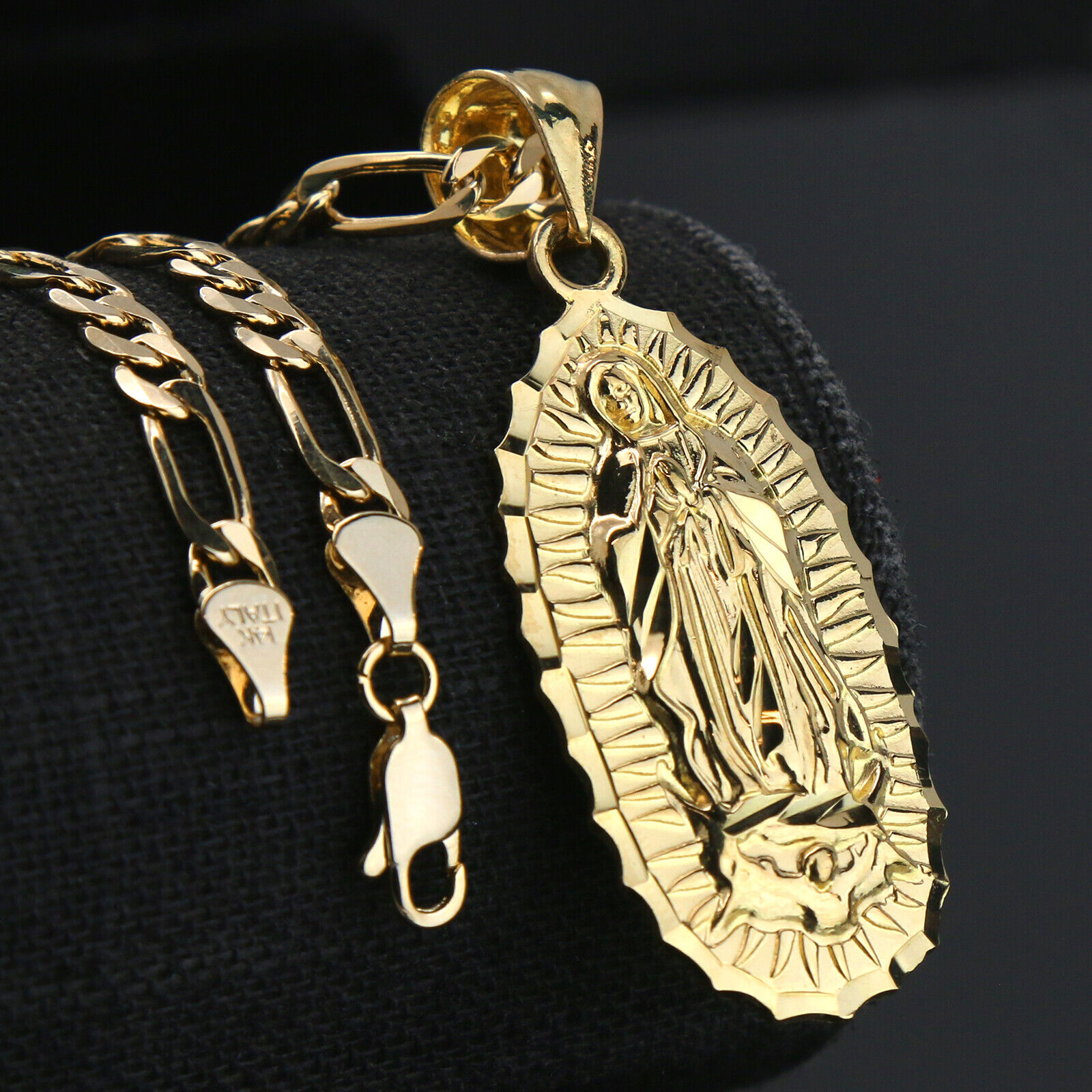 """Collar Para Hombre Oro 14k Chapado Cadena Figaro Guadalupe Colgante Hip Hop 18/"""""""