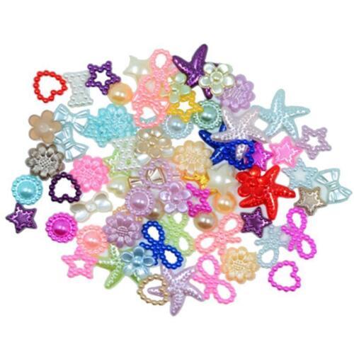 75pcs flor estrellas Flatback perla adornar perlas para DIY artesanía
