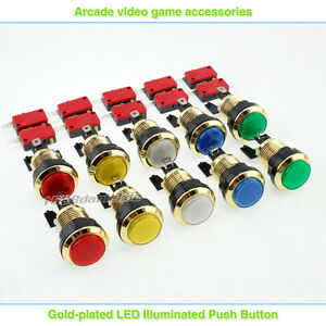 10x-Gold-Plated-LED-lit-Illuminated-Push-Buttons-For-Arcade-DIY-Parts-MAME-JAMME