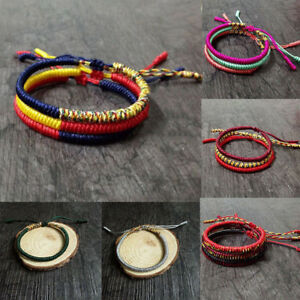 Tibetan-Buddhist-Handmade-Knots-Lucky-Rope-Bracelet-Adjustable-Size-Hot-Unisex