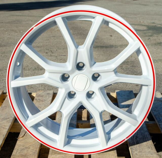 "19"" FK8 Type R Style White Red Lip Wheels Fit Honda Civic"