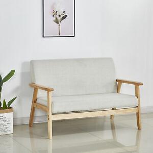 Details about Modern 2 Seater Sofa Armchair Loveseat Fabric Linen Seat  Wooden Frame Beige