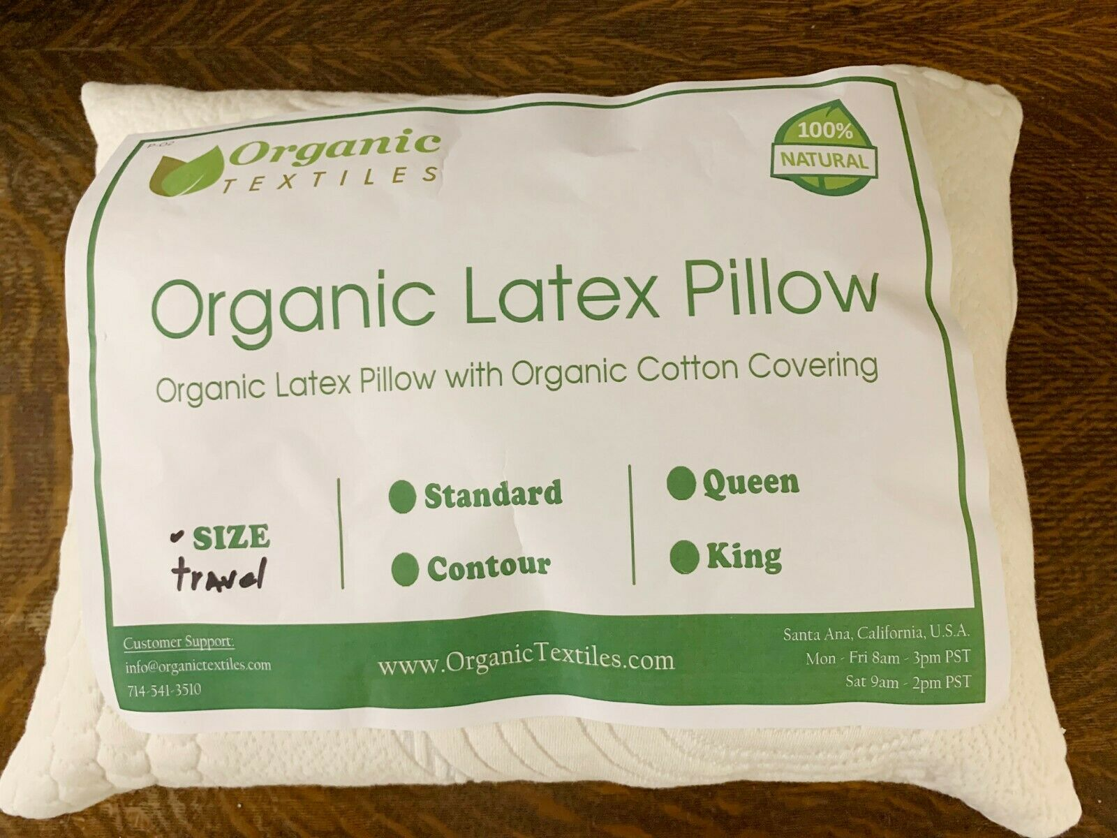 Shrotded Natural Latex Pillow in Zipperot Organic Cotton Cover-ADJUSTABLE-12x16