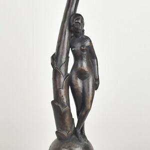 Expressionist Carved Wood Nude Woman Sculpture Lamp Base Art Deco Bauhaus